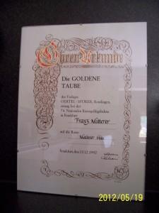 """Urkunde """"Goldene Taube"""""""